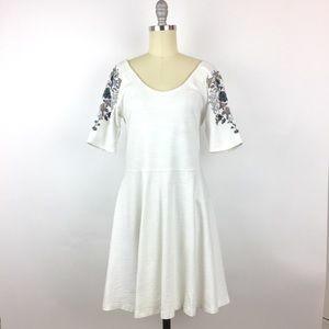Free People Embroidered Skater Dress, White, L